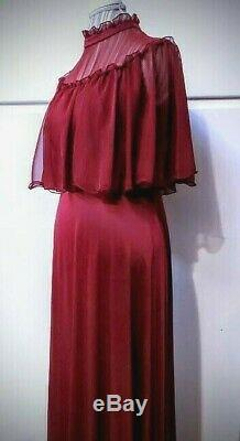 Vintage 70s JcPenney Burgundy Red A-Line High Neck Long Prom Dress Gown Sz M/10