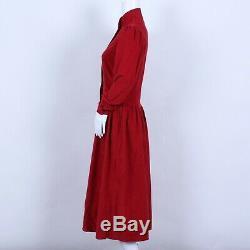 Vintage 70s Laura Ashley Red Cord Puff Sleeve Prairie A-Line Dress 10