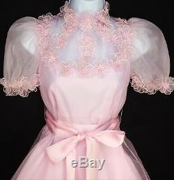 Vintage 70s Maxi Dress XS Pink Floral Short Sleeve Bridesmaid Prom Wedding Dance