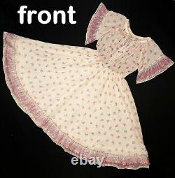Vintage 70s Maxi Dress XS Small Foral Boho Full Cottagecore Prairie Ivory Pink