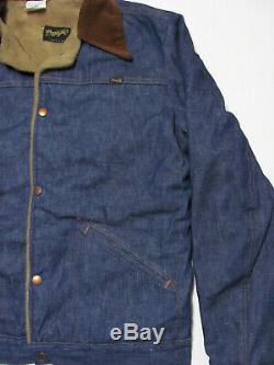 Vintage 70s WRANGLER NWT DEADSTOCK DENIM & CORDUROY SHERPA LINED JACKET nos M 38