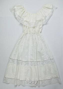 Vintage 70s Womens OSFM White Cotton Lace A Line Prairie Dress Cottage Core