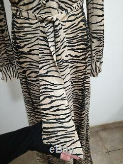 Vintage 70s as 30s tiger animal print A line wide collar maxi dress uk12/14 us10