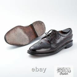 Vintage 80s FLORSHEIM Shell Cordovan Shoes 10 D in Brown V-Cleat Wingtip LWB