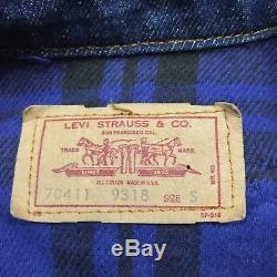 Vintage 80s Levis Blue Plaid Lined Denim Jean Jacket Mens Size Small Indigo Blue