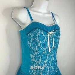 Vintage 90s Betsey Johnson Blue White Sequin Lace Tiered Pleat Corset Dress Sz 8