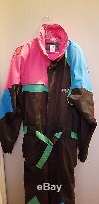 Vintage 90s FILA MAGIC LINE Color Block Full Ski Suit Black Fuschia Hood XXL
