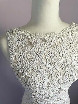 Vintage 90s Scott McClintock Size Small White Lace Simple Classic Wedding Dress