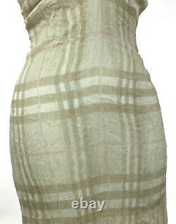 Vintage 90s Y2K BURBERRY Slip Dress Silk Chemise Mesh Sheer Overlay Stretch S