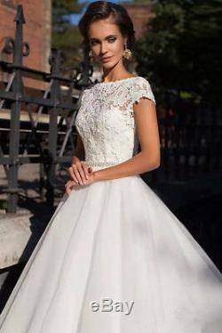 Vintage A Line Cap Sleeves Wedding Dress Lace Tulle Bridal Gown with Sash 2019