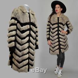 Vintage A-Line Dagger Chevron Sapphire Mink Fur Suede Leather Spy Pea Coat 70s M