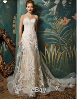 Vintage A Line Lace Appliques Wedding Dress Bridal Gown Sweetheart Illusion Back