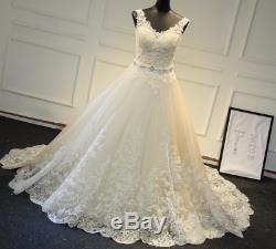 Vintage A-Line Lace Wedding Dress V-Neck Beaded Sash Backless Bridal Gown Custom