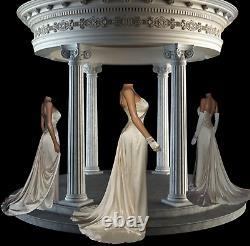 Vintage A-Line Sheath Ivory Silk DESIGNER Beaded Bridal Gown Wedding Dress