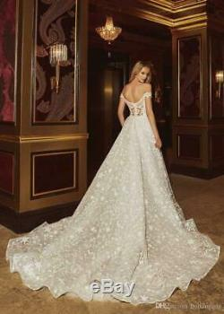 Vintage A Line Wedding Dress Luxury Off Shoulder Star Appliques Lace Bridal Gown