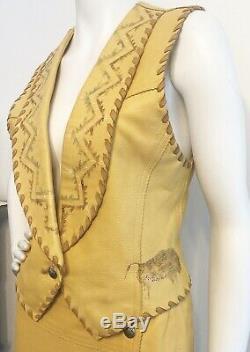 Vintage AUGUSTINA LEATHER Skirt/ Vest Dress FRINGE Boho Festival Southwest SMALL