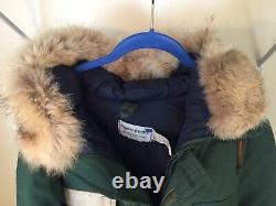 Vintage Alyeska Alaska Pipeline Arctic Clothing Nomex Down Parka Sz LG Green VGC