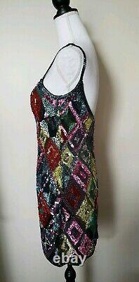 Vintage BLACK TIE Oleg Cassini Sequin Beaded Multi-color Silk Dress Size 6