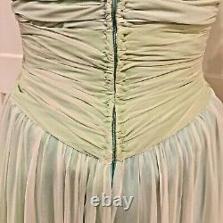 Vintage BOB MACKIE Green Chiffon Flower Embellished Gown DRESS Size 6