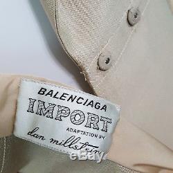 Vintage Balenciaga Dan Millstein 1950s Women's Coat A-Line Swing Beige Silk Bow