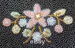 Vintage Beaded FRENCH PURSE, Hand Made Floral Design both Sides, Lined, France