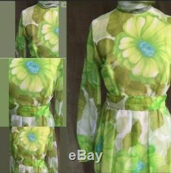 Vintage Belted Retro Semi-Sheer Green Yellow Floral Lined Hostess Maxi Dress, L