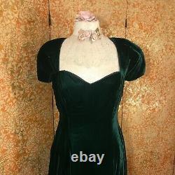 Vintage Bill Levkoff Green Velvet Gown M/L Victorian Goth Renaissance Dress