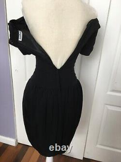 Vintage Black Size 2 Off The Shoulder Corset Dress Drop Waist Boning