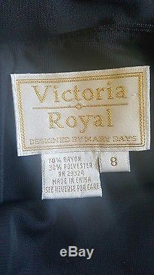 Vintage Black Victoria Royal Saks 5th Avenue Bead Halter Dress A-line gown sz 8