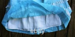 Vintage- Blue Sheer Gauze Lace Lined 34.5 Long Dress Modest Party Girls 4-5-6