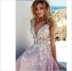 Vintage Blush Appliques Chiffon Wedding Dress A Line Chapel Train Bridal Gown