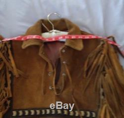 Vintage Buckskin Leather Buckstiched Fringed Shirt /Jacket Lined SASS Men Women