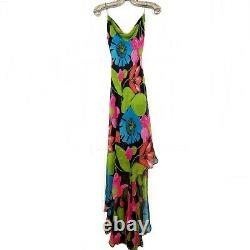 Vintage CACHE 6 Floral Silk Beaded Strap High Low Maxi Dress Small Black Pink