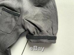 Vintage CHANEL BOUTIQUE Classic Black Gray Blazer Jacket Linen Silk Lined SZ 42