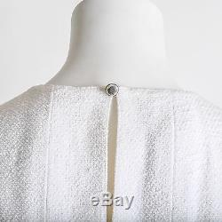Vintage CHANEL Boutique White Cotton & Silk A-Line Suit Sheath Dress size 42