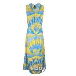 Vintage COLIN GLASCOE Peacock Turquoise Blue Yellow Pure Silk A-Line Maxi Dress