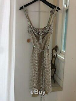 Vintage COLLETTE DINNIGAN sequin lace slip dress in beige silver sequin belt XS
