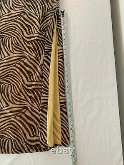 Vintage Cache Formal Dress Size 4 Brown Tan Zebra Shimmer high slit Evening USA