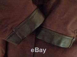 Vintage Canvas Sheepskin Lined Shawl Collar Leather Trim Barnstormer Coat Jacket