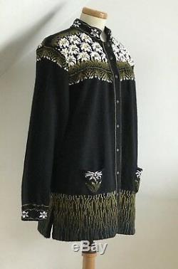 Vintage Cardigan Long Line Hand Knitted Embroidered Norwegian Jacket Superb