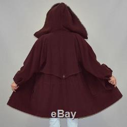 Vintage Cashmere Wool Cocoon Anorak Real Fox Fur Lined Hood Jacket Oversize Coat