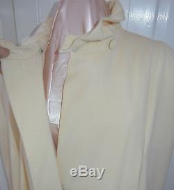 Vintage Cest Simone Cape Off White Long Wool Crepe Lined Large