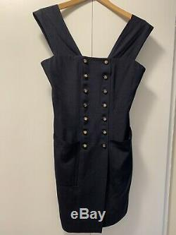Vintage Chanel Boutique Womens Sleeveless A-Line Knit Dress Blue See Measurement