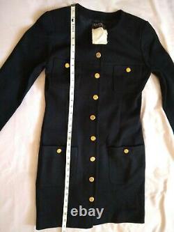 Vintage Chanel Uniform Dress Long Sleeve Black Wool size 38 Lining Damaged