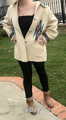 Vintage Chimayo Jacket / Coat Hand Woven In NM! Lined Wool