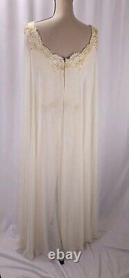 Vintage Chris Kole Chiffon Cape Dress Size 6 Ivory Lace Trim Fairycore Bridal