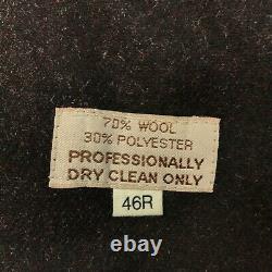 Vintage Christian Dior Monsieur Trench Coat Jacket Mens 46 R Black Wool Lined