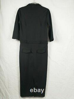 Vintage Christian Dior Sz L Black Red Button A-line Midi Slit Pockets Dress