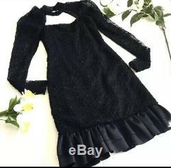 Vintage Christian Dior Womans Lace Cocktail Evening Black Dress