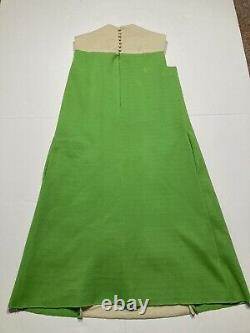 Vintage Colinda By Malcolm Starr A Line Dress 1960s 70s Green Cream Size 6